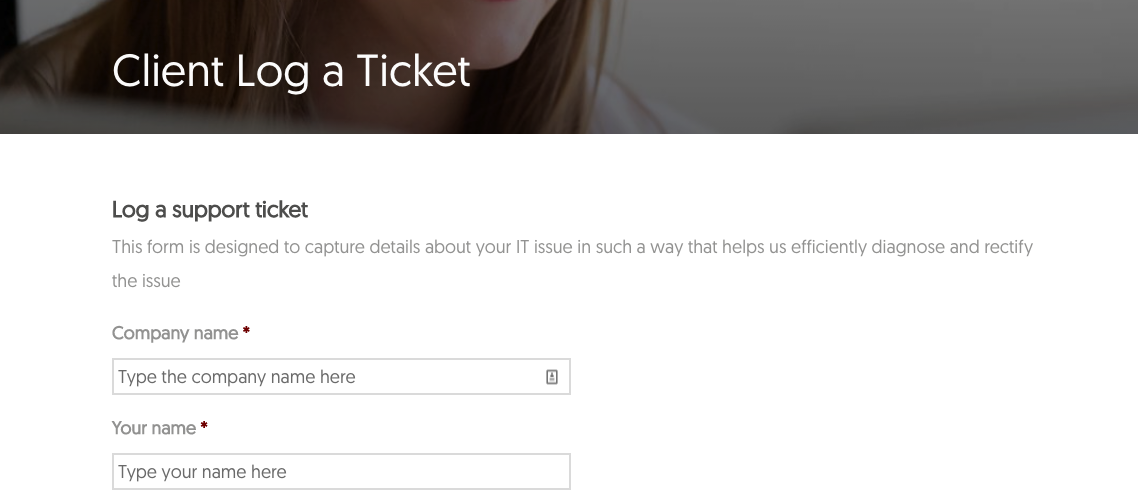 Client log a ticket page